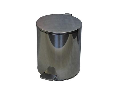 Ведро мусорное с педалью 15 л стальное хром 250х330 мм - (486043К)