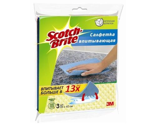Салфетки хозяйственные Scotch-Brite Оптима целлюлоза 16x18 см 3 штуки в упаковке - (502446К)