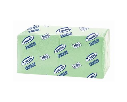 Салфетки бумажные Luscan Profi Pack 1-слойные 24x24 см пастель зеленые 400 штук - (470887К)