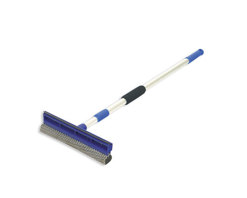 Комплект для мытья окон губка+резиновый сгон 25 см ручка телескопическая 120 см - (78099К)