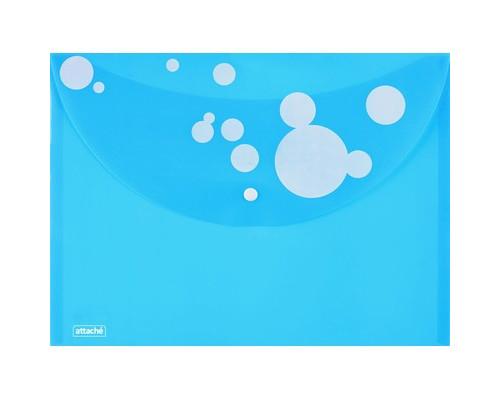 Папка-конверт Attache Круги на кнопке А4 голубая 0.18 мм - (389979К)