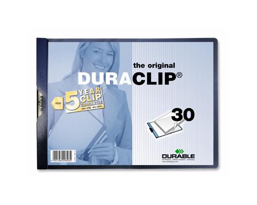 Папка для брошюровки Durable с клипом А4 горизонтальная синяя до 30 листов - (62123К)