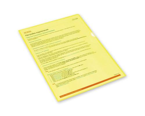 Папка-уголок пластиковая желтая А4 100 мкм 10 штук в упаковке - (495375К)