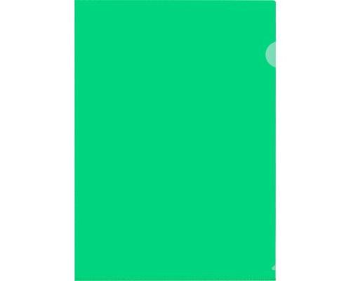 Папка-уголок жесткий пластик зеленая А4 120 мкм 20 штук в упаковке - (627961К)