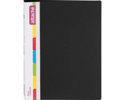 Папка с зажимом Attache А4 0.7 мм черная до 150 листов с карманом для CD и визиток - (33177К)
