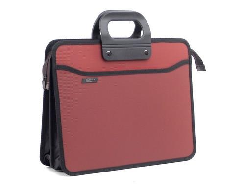 Папка-портфель пластиковая А4+ терракотовая 390x320 мм 4 отделения усиленная ручка - (210669К)