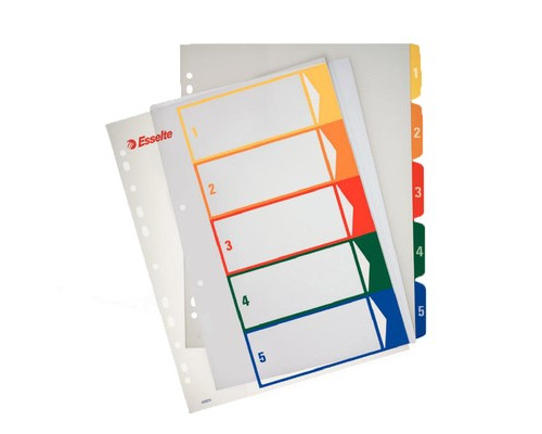 Разделитель листов Esselte А4+ пластиковый 5 листов цифровой - (62141К)
