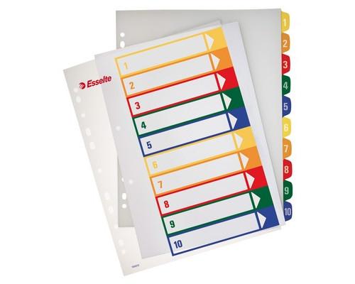 Разделитель листов Esselte А4+ пластиковый 10 листов цифровой - (62142К)