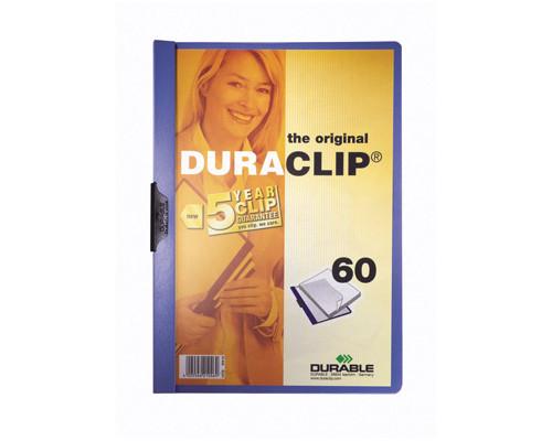 Папка для брошюровки Durable с клипом А4 синяя до 60 листов - (118109К)