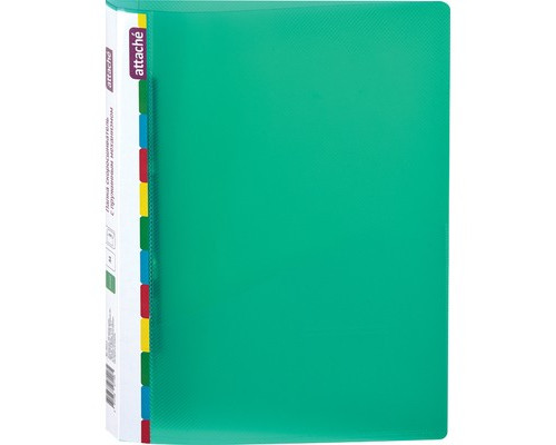 Папка-скоросшиватель с пружинным механизмом Attache Diagonal пластиковая А4 зеленая 0.6 мм до 150 листов - (391373К)