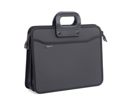 Папка-портфель пластиковая А4+ черная 390x320 мм 4 отделения усиленная ручка - (207580К)
