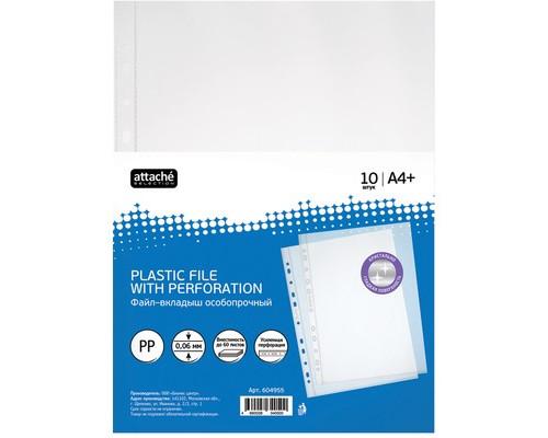 Файл-вкладыш Attache Selection Кристал А4+ 60 мкм гладкий прозрачный 10 штук в упаковке - (604955К)