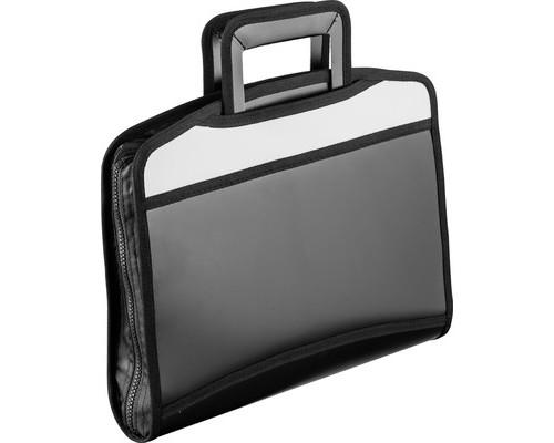 Папка-портфель Attache пластиковая А4+ черная-серая 275x350 мм 5 отделений выдвижные ручки - (331731К)