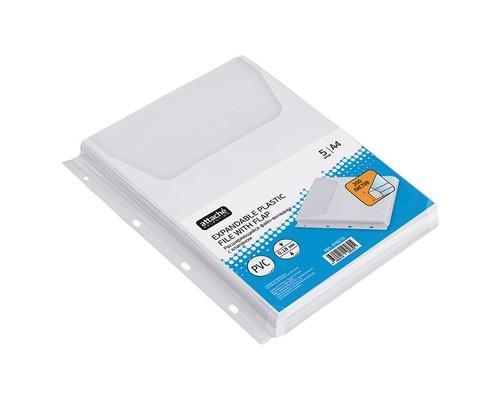 Файл-вкладыш Attache А4 180 мкм гладкий прозрачный расширяющийся с клапаном 5 штук в упаковке - (478276К)