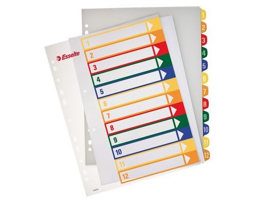 Разделитель листов Esselte А4+ пластиковый 12 листов цифровой - (62143К)
