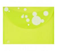 Папка-конверт Attache Круги на кнопке А4 салатовая 0.18 мм - (389977К)