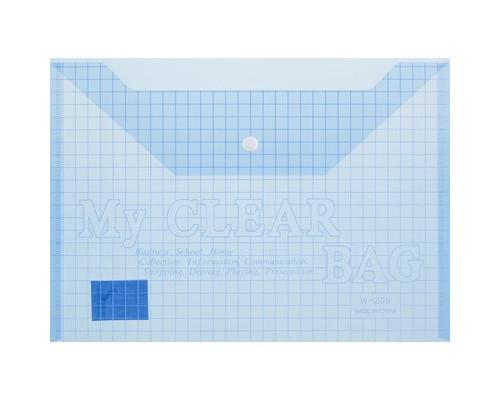 Папка-конверт My clear bag на кнопке А4 голубая 0.15 мм - (327144К)