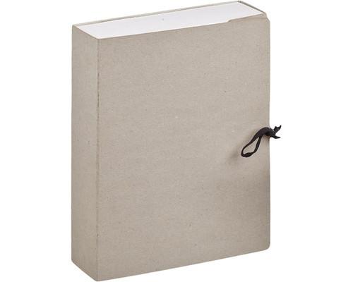 Короб архивный А4 переплетный картон серый складной 100 мм 2 завязки - (479870К)