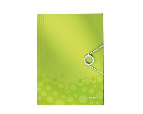 Папка-короб на резинках Leitz Wow А4 пластиковая зеленая 0.7 мм до 150 листов - (400917К)