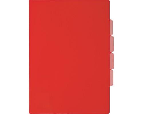 Папка-уголок прозрачный пластик красная А4 150 мкм 3 отделения - (319780К)