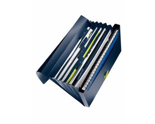 Папка-портфель Leitz ReCycle пластиковая А4 синяя 240x41x330 мм 12 отделений - (204871К)