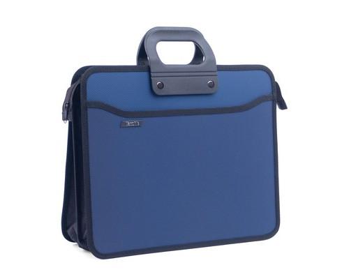 Папка-портфель пластиковая А4+ синяя 390x320 мм 4 отделения усиленная ручка - (207583К)