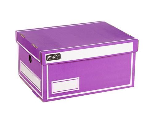 Короб архивный Attache гофрокартон фиолетовый 240х160х320 мм - (391343К)
