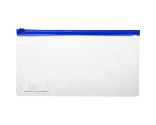 Папка-конверт на молнии для билетов синяя 0.11 мм 250х130 мм - (246758К)