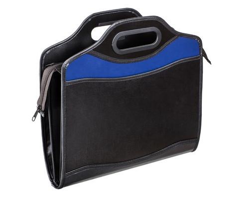 Папка-портфель Attache Шелк пластиковая А4+ черная-синяя 280x350 мм 4 отделения - (331729К)