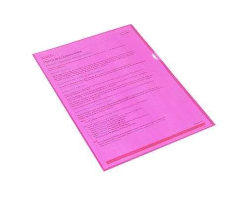 Папка-уголок пластиковая красная А4 100 мкм 10 штук в упаковке - (495372К)