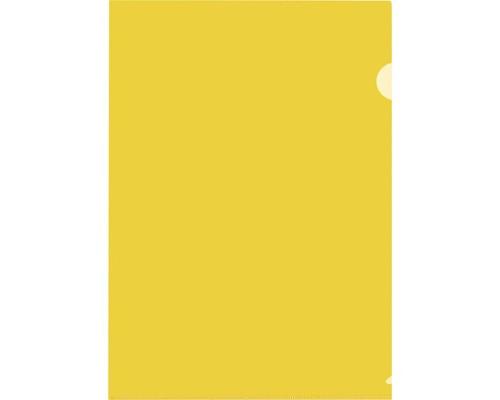 Папка-уголок жесткий пластик желтая А4 120 мкм 20 штук в упаковке - (627964К)