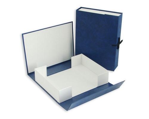 Короб архивный А4 бумвинил синий нескладной 70 мм 2 завязки - (90819К)