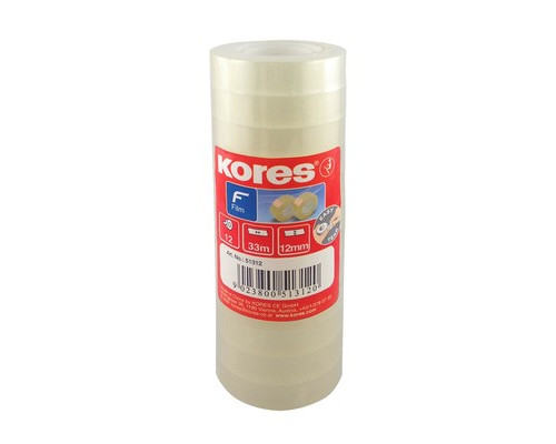 Клейкая лента канцелярская Kores прозрачная 12 мм х 33 м 12 штук в упаковке - (153056К)