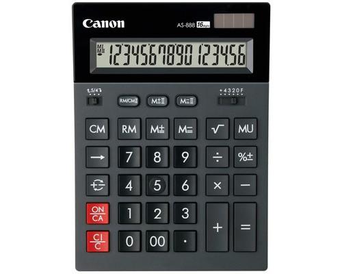 Калькулятор настольный Canon AS-888 16-разрядный черный - (212713К)