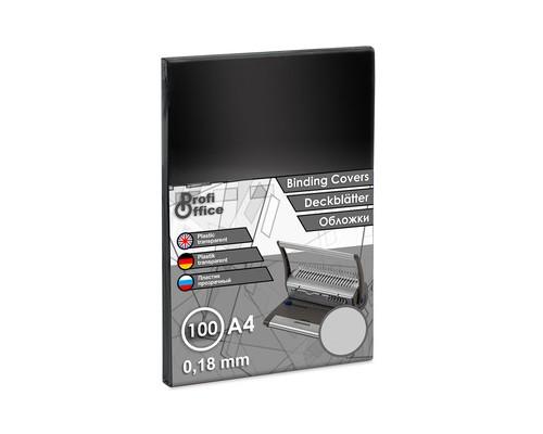 Обложки для переплета пластиковые ProfiOffice A4 180 мкм прозрачные глянцевые 100 штук в упаковке - (6339К)