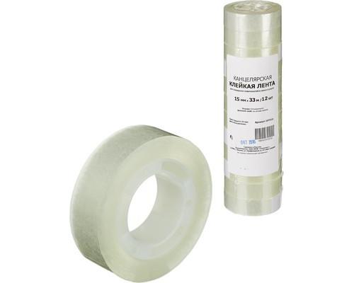 Клейкая лента канцелярская прозрачная 15 мм х 33 м 12 штук в упаковке - (107515К)