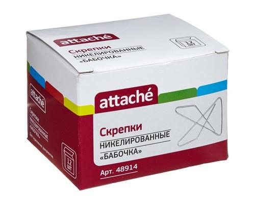 Скрепки Attache металлические никелированные бабочка 50 мм 12 штук в упаковке - (48914К)