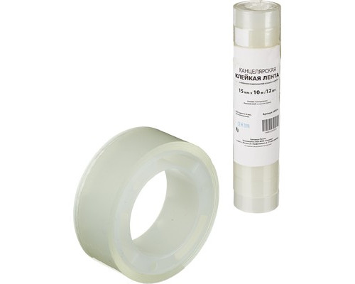 Клейкая лента канцелярская прозрачная 15 мм х 10 м 12 штук в упаковке - (107514К)