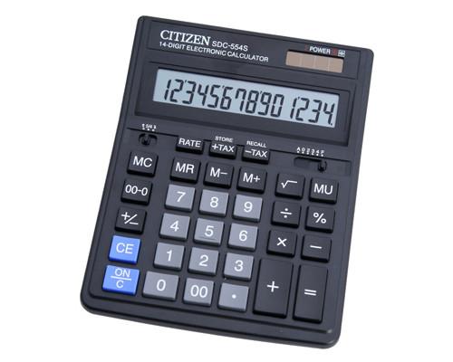 Калькулятор настольный Citizen SDC-554S 14-разрядный черный - (218879К)