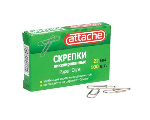 Скрепки Attache металлические никелированные 22 мм 100 штук в упаковке - (141294К)