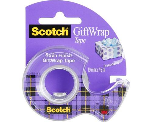 Клейкая лента канцелярская Scotch Satin полуматовая 19 мм х 7.5 м с диспенсером - (438699К)