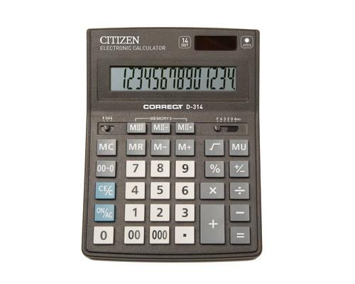Калькулятор настольный Citizen Correct D-314 14-разрядный черный - (480260К)