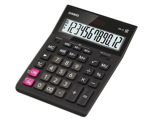 Калькулятор настольный Casio GR-12 12-разрядный черный - (394704К)