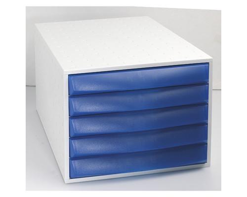 Бокс с выдвижными лотками Exacompta закрытый 5 отделений серый-синий - (260803К)
