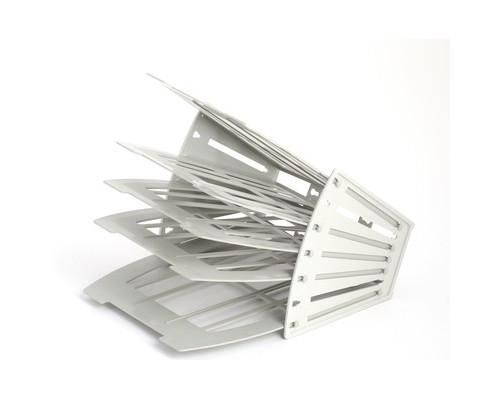 Лоток для бумаг вертикальный-горизонтальный Attache веерный универсальный 4 отделения серый - (495649К)