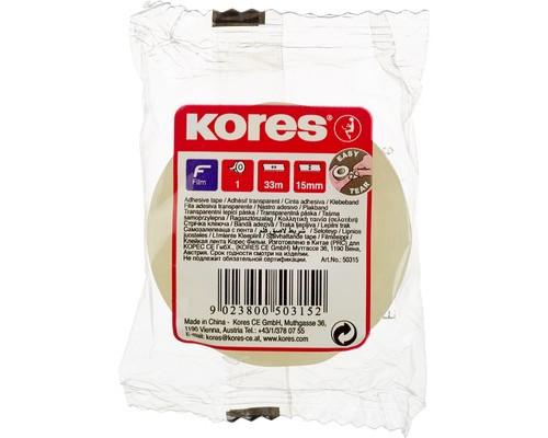 Клейкая лента канцелярская Kores прозрачная 15 мм х 33 м - (167749К)