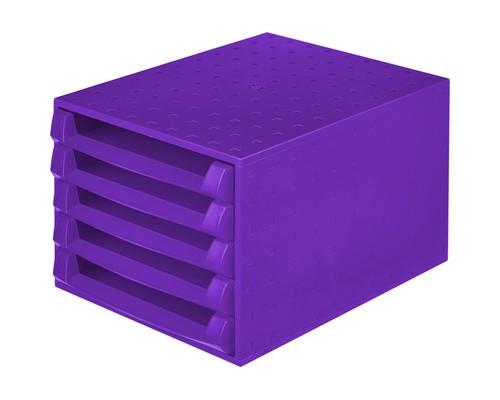 Бокс с выдвижными лотками открытый Exacompta фиолетовый прозрачный 5 открытых лотков - (325516К)
