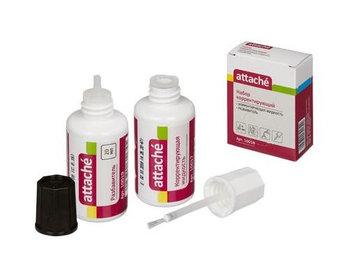 Корректирующая жидкость Attache быстросохнущая 20 мл + разбавитель - (10018К)