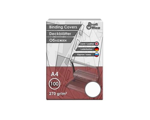 Обложки для переплета картонные ProfiOffice A4 270 г/кв.м белые текстура кожа 100 штук в упаковке - (1460К)