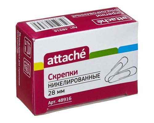 Скрепки Attache металлические никелированные 28 мм 100 штук в упаковке - (48916К)